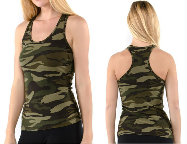 Women#x27;s CAMO Tank Top Racerback Sleeveless Stretch Fitted Army Green Camouflage