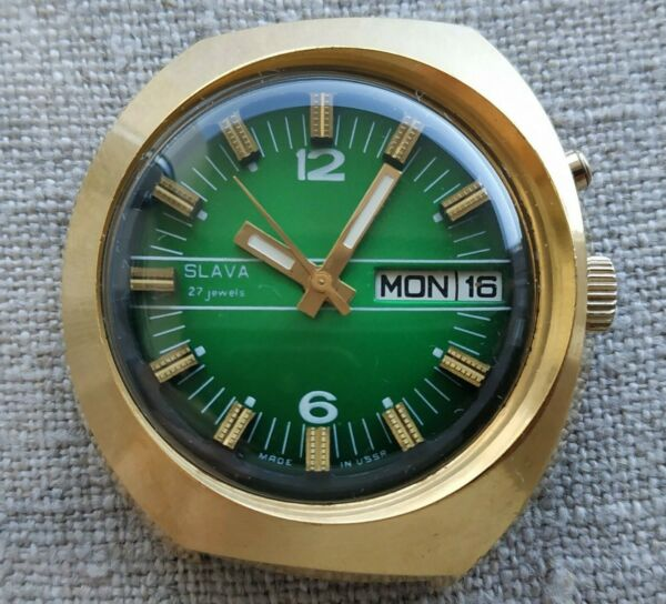 Huge SLAVA AUTOMATIC Vintage Russian Soviet Costume watch USSR ☭ Gold plated