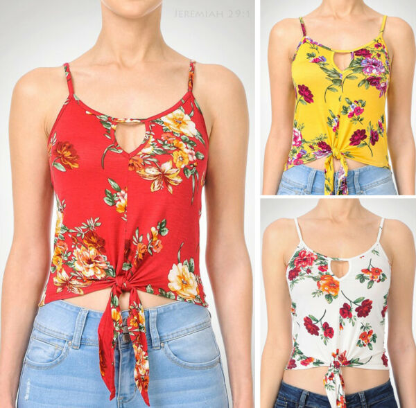 Women's Floral Print Cami Top Cropped Tie Front Soft Stretch Knit Loose Casual