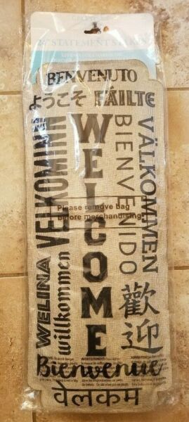 NWT Evergreen Burlap 24quot; Statement Stake WELCOME Neighbor multiple languages
