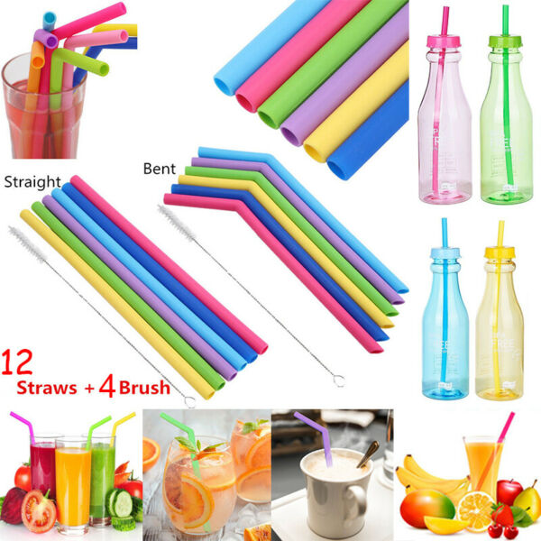 12PCS Straws Reusable Silicone Drinking Straw with Cleaning Brushes Set CA