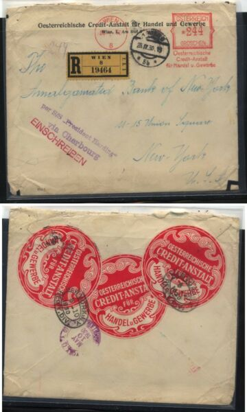 Austria  large meter registered cover to US  1930 labels      MS1021