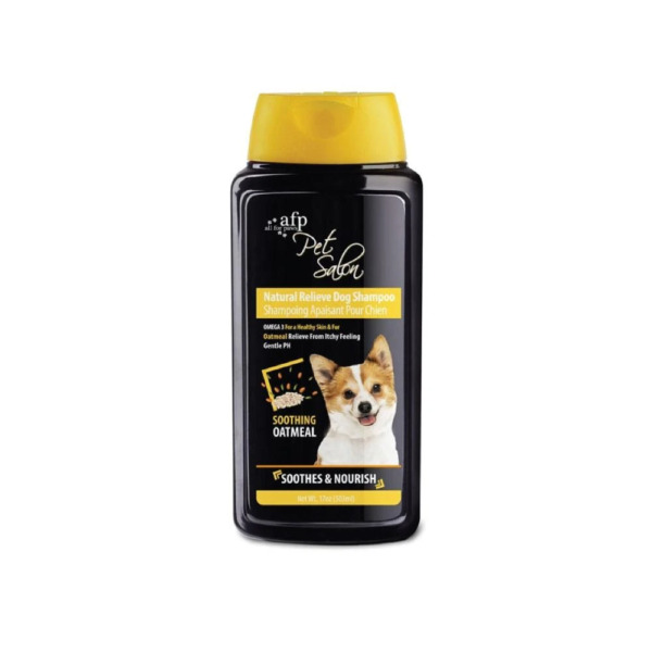 AFP Natural Relieve Dog Shampoo 503ml Itchy Soothing Oatmeal Hemp Seed Fish Oil