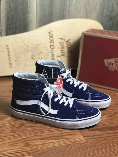 Sneakers Men's VANS SK8-High Top Estate Blue White Suede Canvas