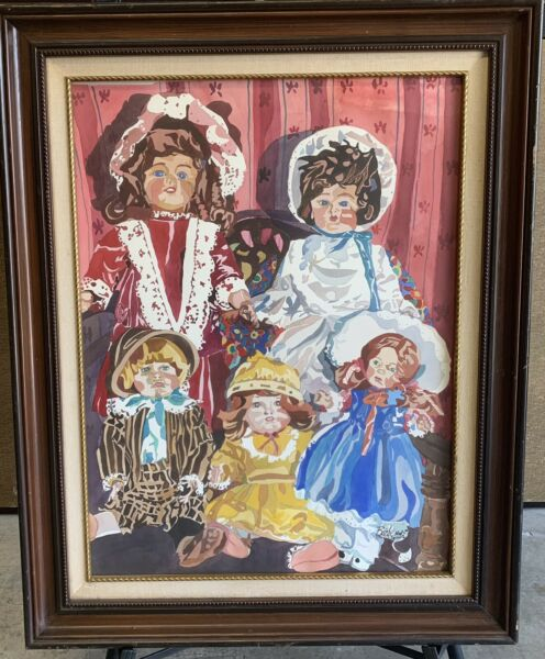 Listed California Artist Signed Sandra E. Beebe Orig Watercolor Of Vintage Dolls