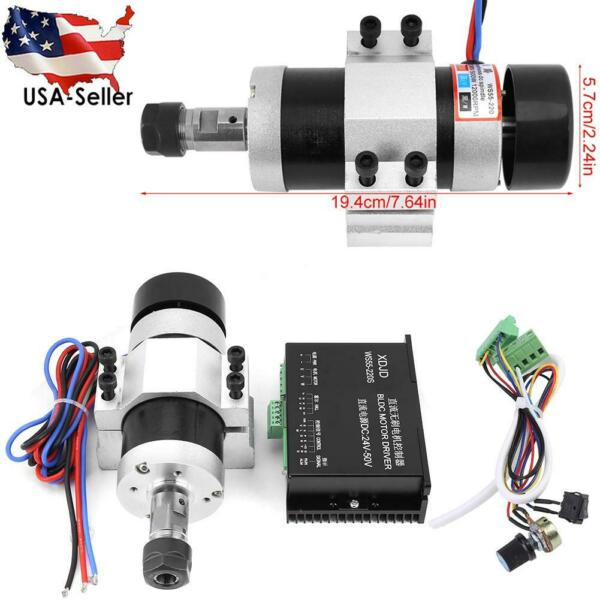 ER16 DC 48V 500W High Speed Air Cooling Brushless Spindle Motor + Driver+ Clamp