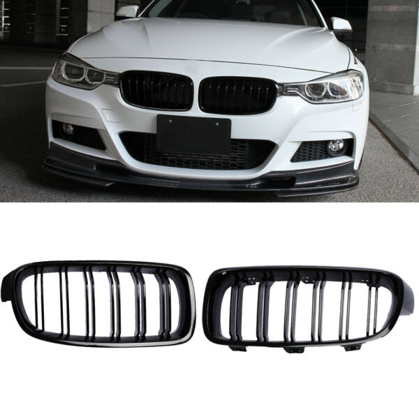 Front Kidney Grille Grills For BMW F30 328i 335i 2012-2018 Gloss Black