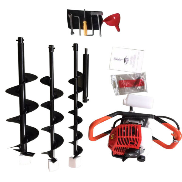 2.3Hp Gas Powered Post Hole Digger Earth Auger 52CC Powered Engine+468