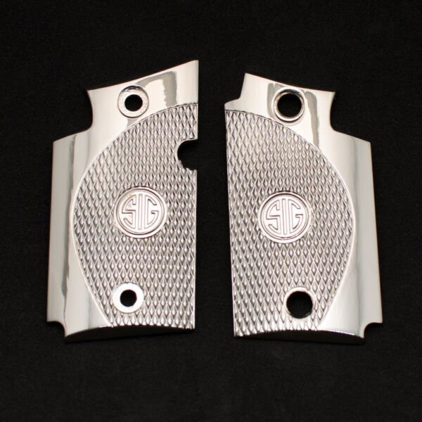 Exclusive LUXURY For Sig Sauer P938 Custom Metal Checkered Grips Nickel $59.00
