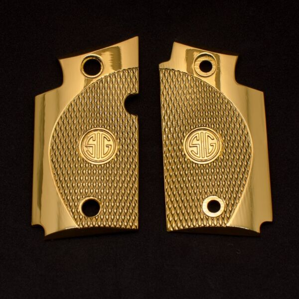 Exclusive LUXURY For Sig Sauer P938 Custom Metal Checkered Grips gold plated $59.00