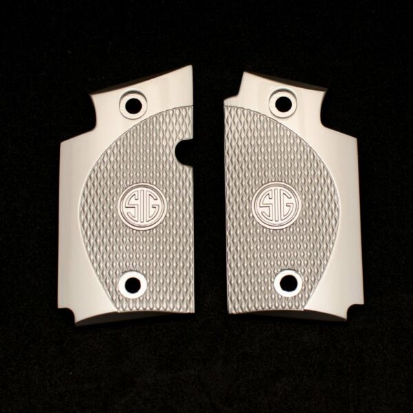 Exclusive LUXURY For Sig Sauer P938 Custom Metal Checkered Grips Brushed Nickel $59.00