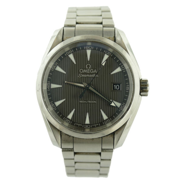 OMEGA SEAMASTER AQUA TERRA CHARCOAL GRAY DIAL 150M STAINLESS STEEL MENS WATCH