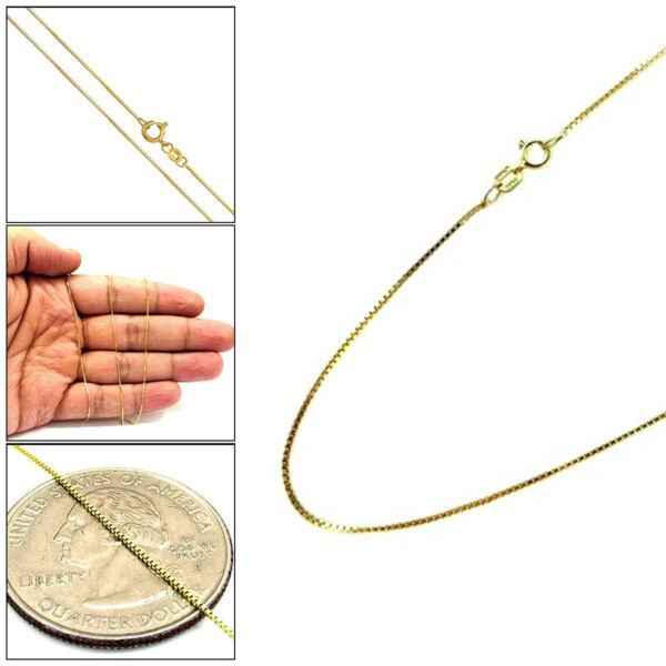 10K Yellow Gold 1MM Mens Womens Box Chain Necklace 16quot; 24quot;