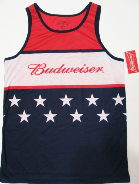 Budweiser Shirt Small 34 36 Beer Logo Holiday Red White Blue Star Patriot