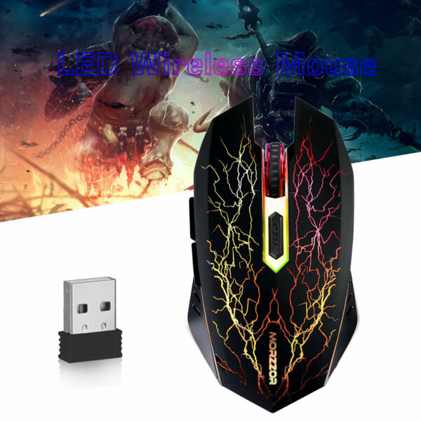 Gaming Wired Mouse 2400DPI USB Optical RGB Flowing Light Mice PC Laptop Computer
