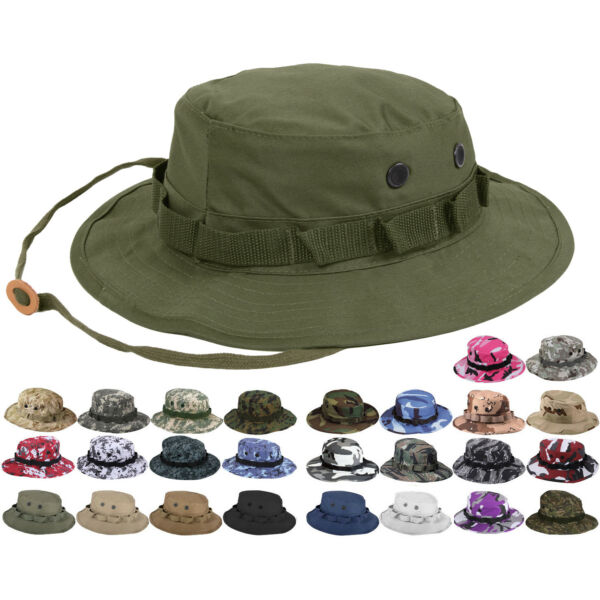 Tactical Boonie Hat Military Camo Bucket Wide Brim Sun Fishing Bush Booney Cap