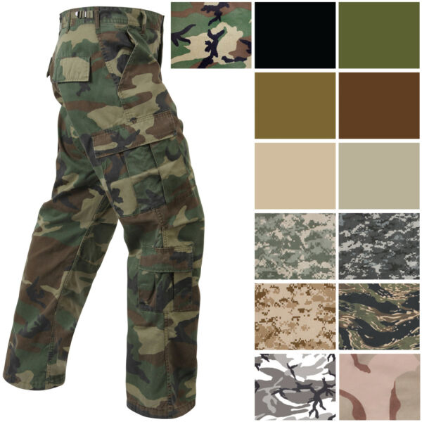Military Paratrooper Fatigues Cargo Camo Pants 8 Pocket Washed Army Tactical $39.99