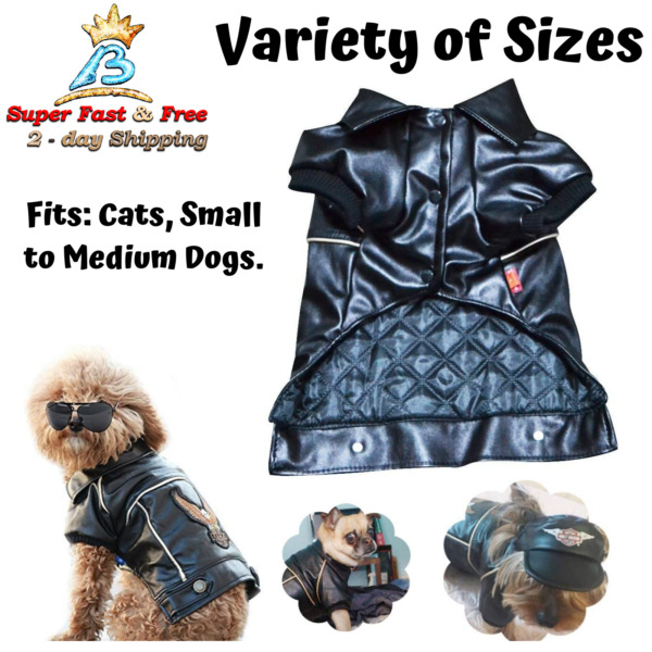 Cool Dog Winter Coat Faux Leather Motorcycle Jacket For Dog Pet Clothes Black $30.70
