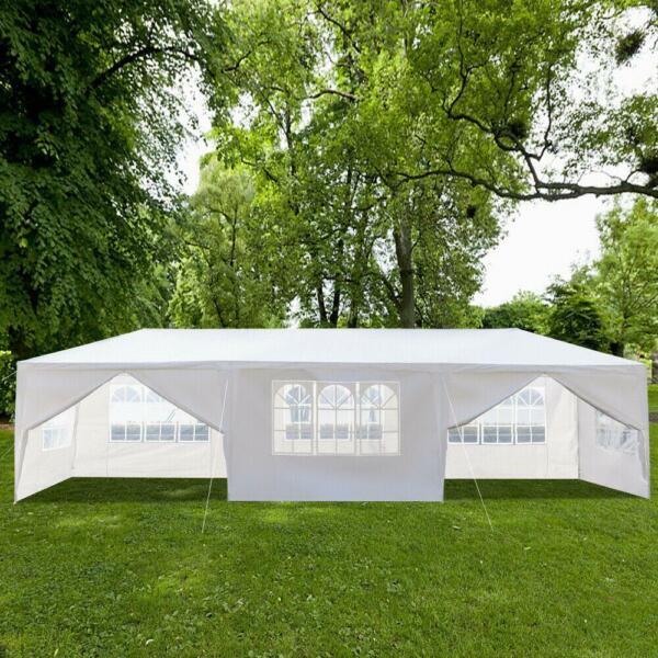 10#x27;x30#x27; Outdoor Gazebo Canopy Tent Wedding Party Tent Patio w 8 Removable Walls