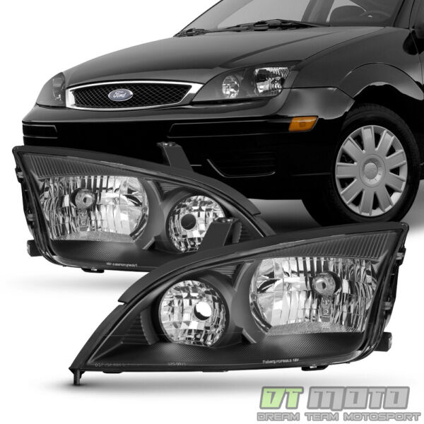 Black 2005 2006 2007 Ford Focus ZX4 Headlights Headlamps Aftermarket LeftRight $108.99
