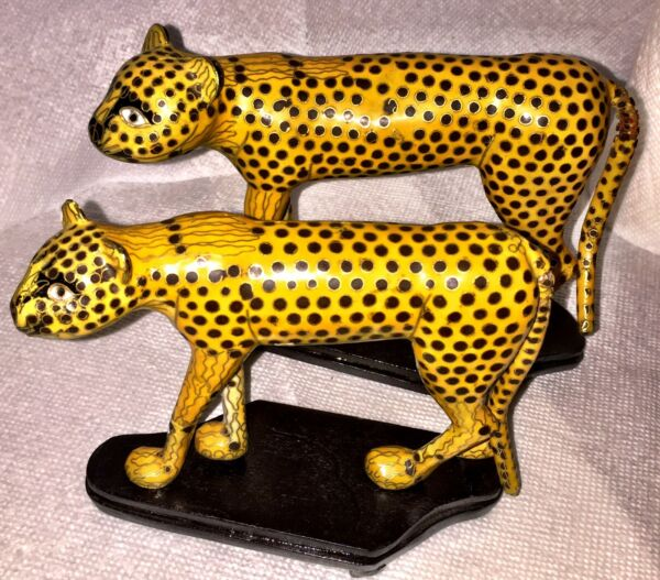 Rare Pair Of Vintage Cloisonne And Brass Cheetah Sculptures Circa 1980