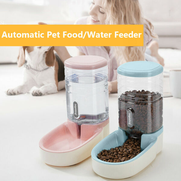 Automatic Large Capacity Puppy Food Water Dispenser Dog Cat Bottle Pet Feeder