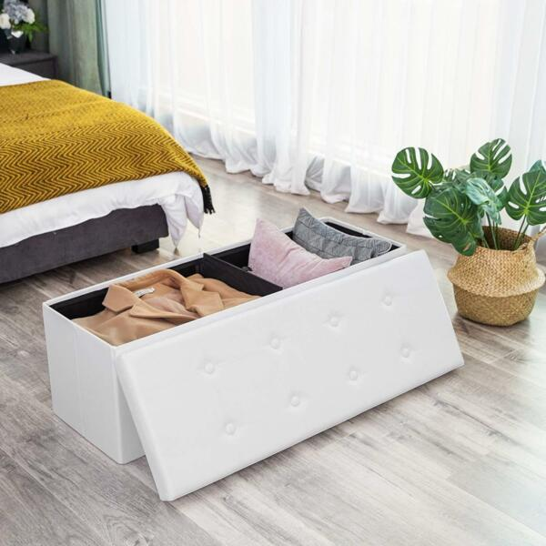 43 Inches Folding Storage Ottoman Bench Storage Chest Footrest Padded Seat Faux $40.99
