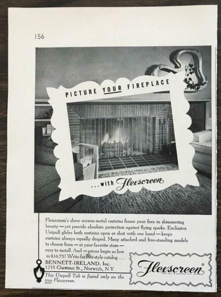1955 Flexscreen Sheer Woven Metal Fireplace Curtain Ad Bennet Ireland Norwich NY