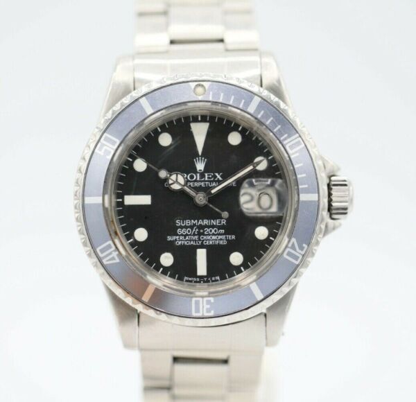 Rolex Vintage 1680 Submariner Black Stainless Steel 40 mm Automatic Wrist Watch