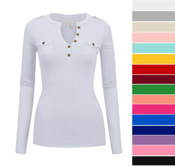 Women's Long Sleeve Henley Top Soft Cotton Knit Fitted T-Shirt Pockets Casual