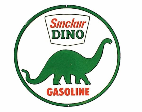 SINCLAIR OIL AND GAS ROUND TIN SIGN DINOSAUR METAL POSTER GASOLINE GLOBE 1.00