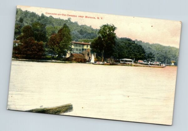 MORAVIA NEW YORK N Y VINTAGE VIEW CASCADE-ON-THE-OWASCO POSTCARD A1-2