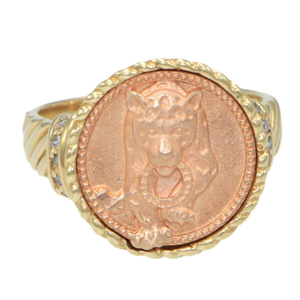 Effy Panther Diamond Cocktail Ring 14k Yellow Gold 0.10ctw 17mm Wide 9.00