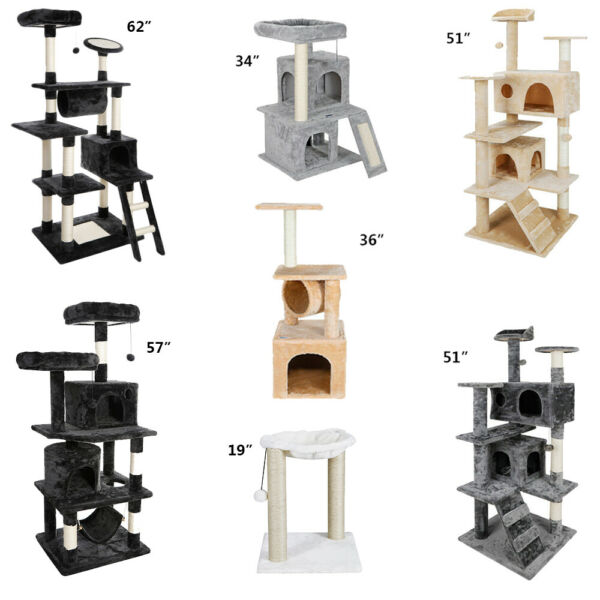 Multiple Sizes Cat Tree Tower Condo Furniture Scratch Post Tree Kitty Play House $31.85
