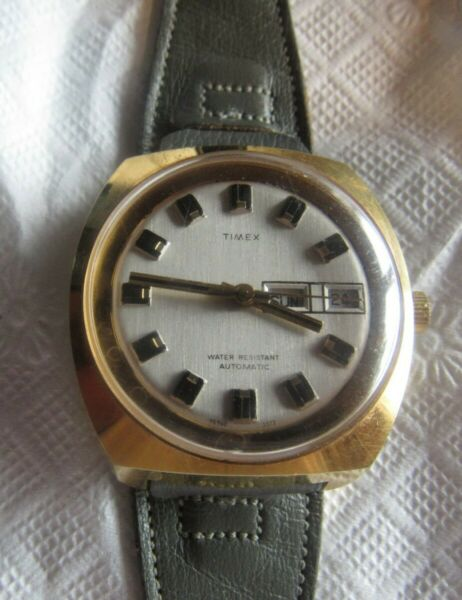 extra clean timex mens automatic wind large wrist watch & date window
