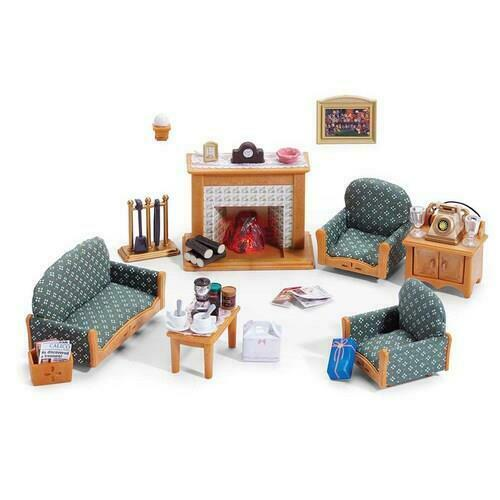 Calico Critters Deluxe Living Room Set With Working Fireplace 30 AccessoriesNIB