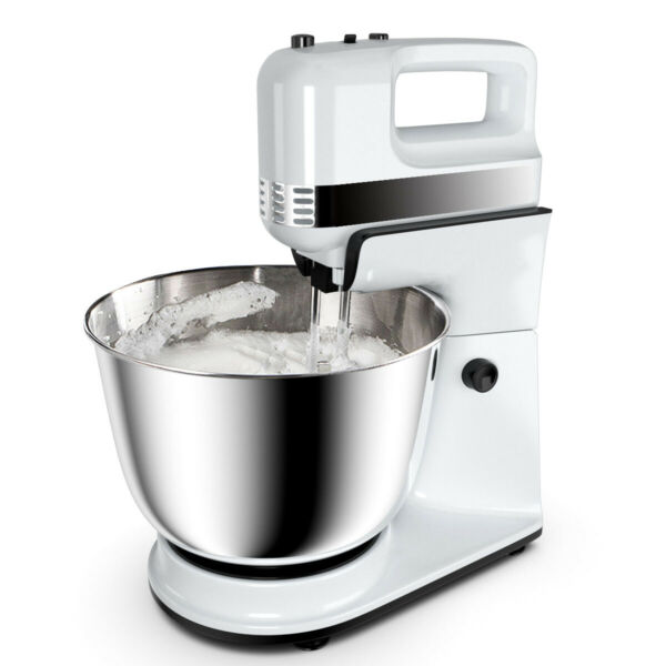 250W 5-Speed Stand Mixer w with Dough Hooks Beaters and Stainless Steel Bowl