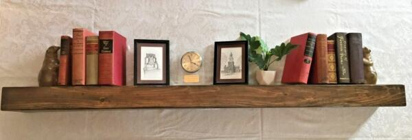 Floating Shelf - Fireplace Mantle - Rustic Aged Walnut Beam Look - 48