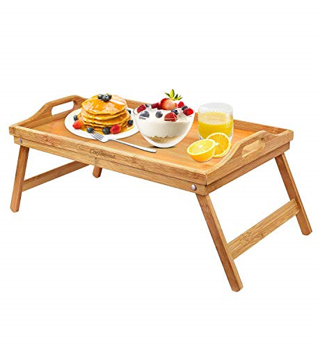 Tray Bamboo Bed Table with Foldable Legs Portable Laptop Tray Snack for Food NEW
