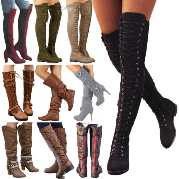 Women Boots Winter Calf Ladies Mid  Over The Knee High Stretch Calf Leg Boots