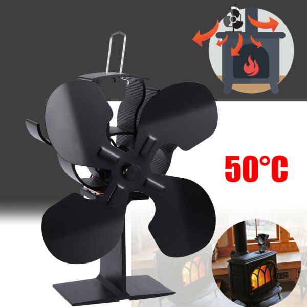 Heat Powered Stove Fan Wood Burner Top Fan Eco Friendly Black 4Blade For Heaters