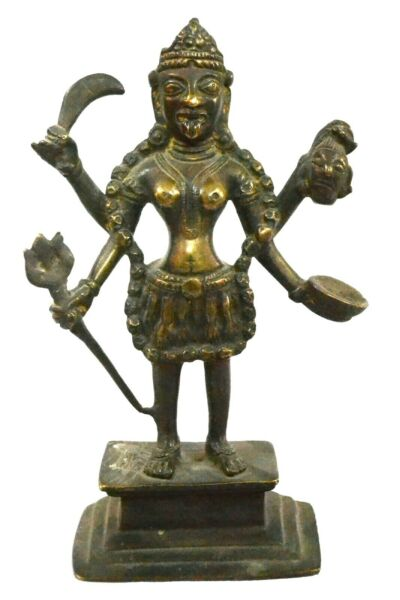 Goddess Kali Statue Brass Vintage Hindi Maa Idol Figurine Devi Sculpture
