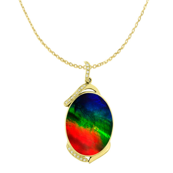 Ammolite AAA Necklace Dia  Pendant in 14K Gold with Certificate Natural Ammolite