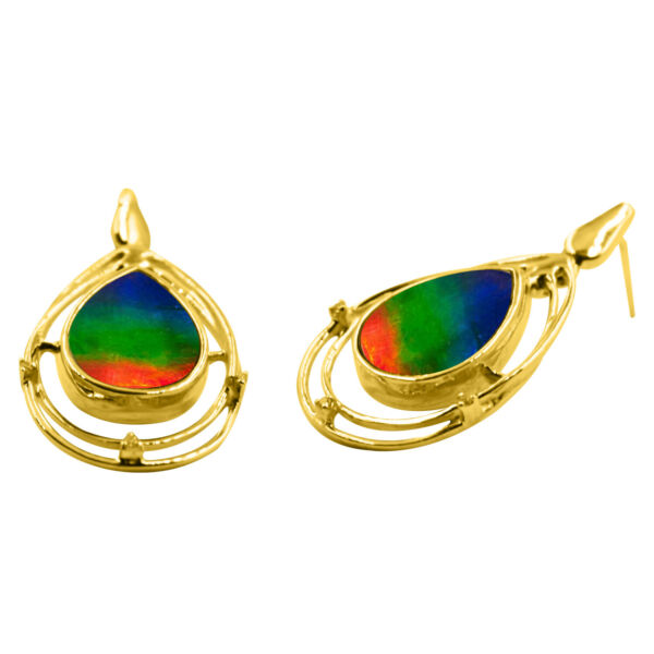 Ammolite Earring Diamonds-AAA Natural Ammolite Set in14K Gold with Certificate!!