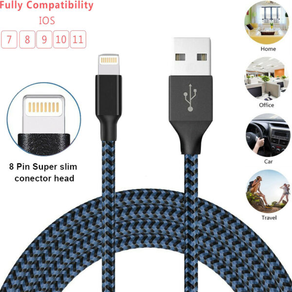 3FT 6FT 10FT Braided USB Charger Cable Sync Cord For iPhone 6s 7 8 Plus X Xs Max
