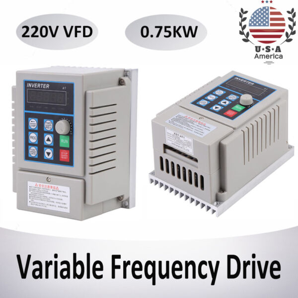 5A 0.75KW Single Phase 3PH Variable Speed Drive Frequency Converter AC 220V USA