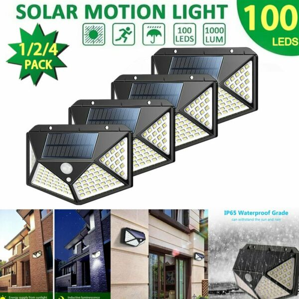 100 LED Solar Powered PIR Motion Sensor Light Outdoor Garden Security Floodlight
