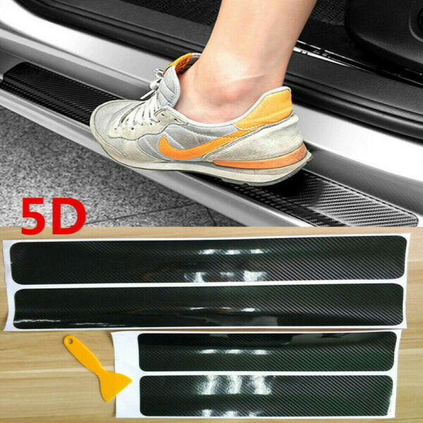 4X Car Accessories 5D Carbon Fiber Vinyl Wrap Door Sill Protector Trim Stickers