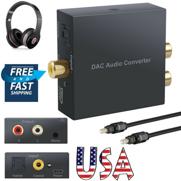 Digital Optical Coaxial Toslink to Analog RCA LR Audio Converter