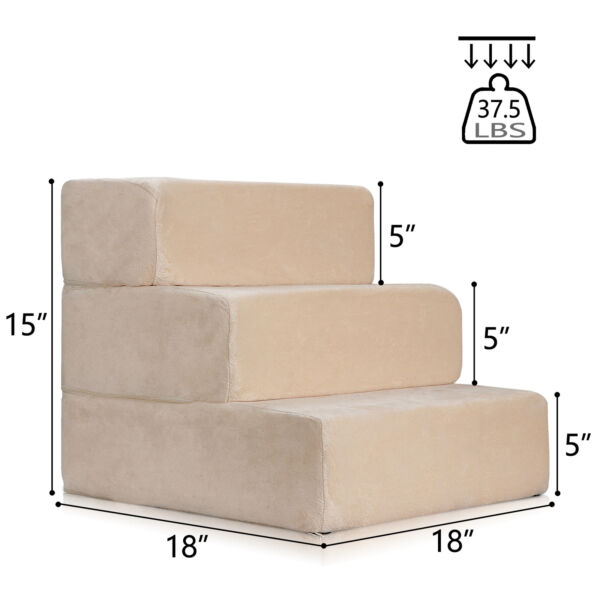 Pet Stairs 3 Steps Soft Portable Cat Dog Step Ramp Small Climb Ladder w Cover $36.99